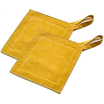 Great Useful Stuff All Purpose Leather Suede Hot Pads for Use As Trivet, Hotpad, and Pot Holder. Mustard, Set of 2