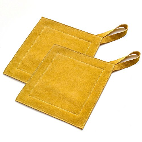 All Purpose Leather Suede Hot Pads For Use As Trivet, Hotpad, and Pot Holder. Mustard, Set of 2