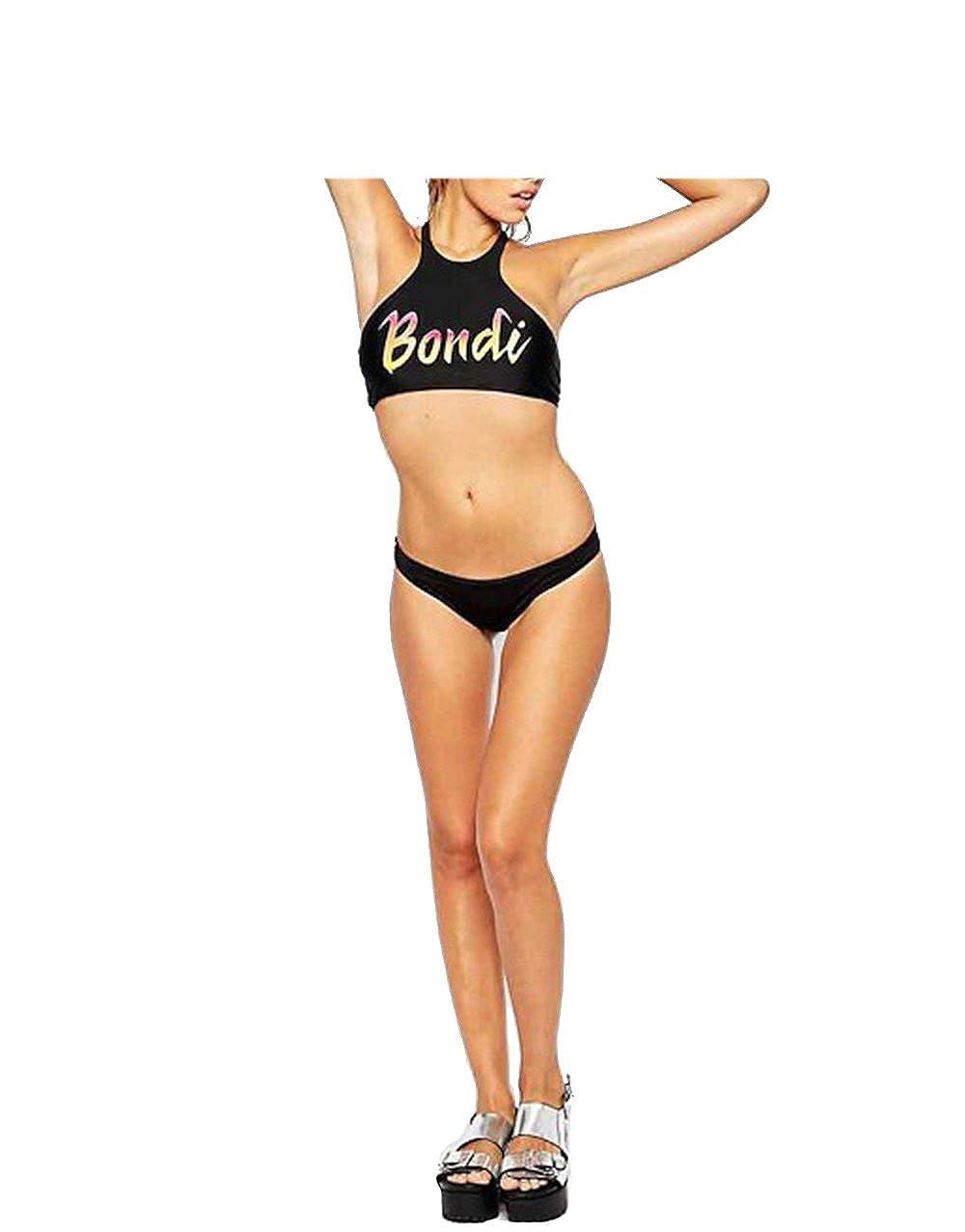 4d3ace8562 Amazon.com: Black Women Bikini Bondi Letters Print Beachwear Sexy Beach  Bathing Suits: Clothing