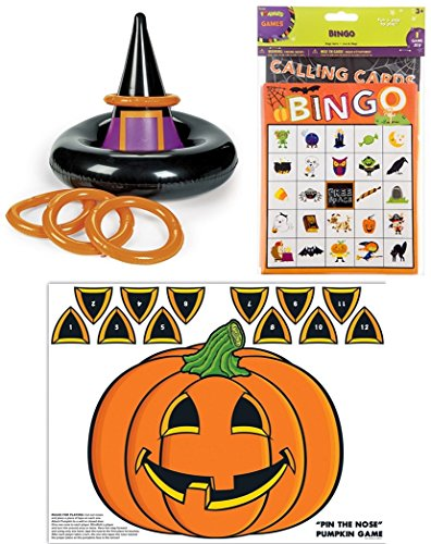 happy deals Halloween inflatable Witch HAT toss game + Halloween Bingo Game and Pin the nose Pumpkin game - SET of 3 Halloween Party Games