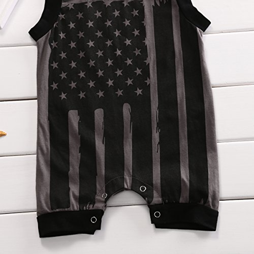 Baby Boys Girls Sleeveless Jumpsuit Infant Kids 4th July USA Flag Romper (70 (0-6M), Grey)