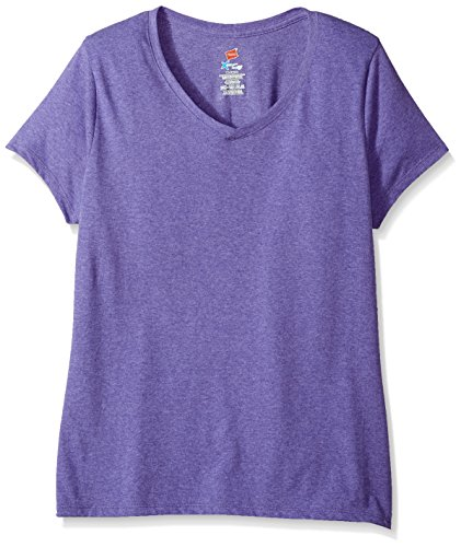 (Hanes Women's X-Temp Short Sleeve V-Neck Tee with FreshIQ, Grape Heather, X Large)