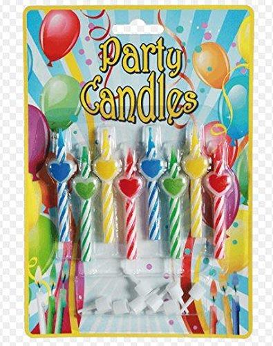 16 velas corazón para cumpleaños niño con portavelas para ...