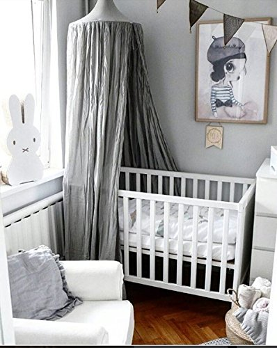 Children Bed Canopy Round Dome, Cotton Mosquito Net, Kids Princess Play Tents, Room Decoration for Baby Indoor Outdoor Playing (Gray) by Fangsi (Image #2)