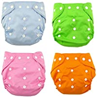 HOME CUBE® Adjustable Baby Diapers & Changing Pads Cotton Washable Reusable Nappy Ages 0 to 2 years. (Pack Of 4)