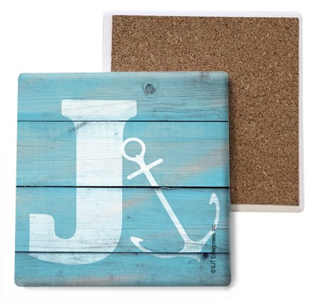 SJT ENTERPRISES, INC. Initial/Letter Lake and Beach Themed Coasters -J Absorbent Stone Coasters, 4-inch (4-Pack) (SJT96871) ()