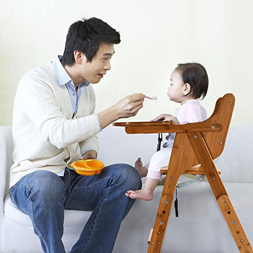 c7fd4408403b0 ELENKER Wood Baby High Chair with Tray. 3 Gear Adjustable Height Foldable Feeding  Baby Highchair