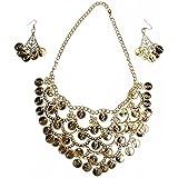 BESTOYARD Belly Dance Jewelry Set Gold Necklace Earrings for, Golden, Size Mid