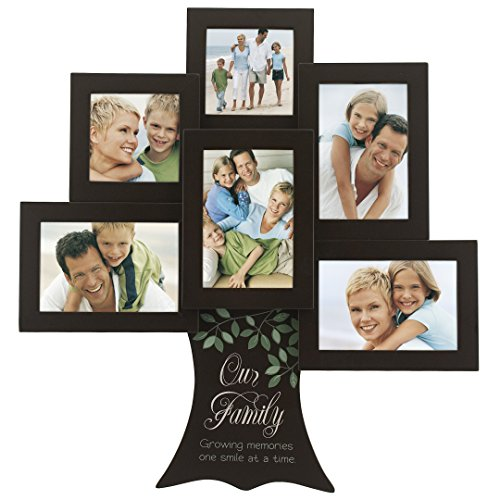 Malden International Designs Our Family Tree - Growing Memories one Smile Wood Picture Frame, 6 Option, 4-4x6 & 2-4x4, Brown