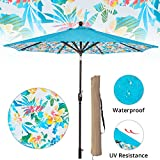 LCH 9ft Outdoor Umbrella Patio Backyard Deck Table Umbrella with Sturdy Pole, 8 Ribs, Crank Open, Push Button Tilting, Dark Red, Novelty Design (Blue-Tropical Forest)