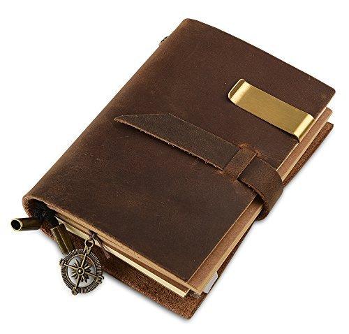 7Felicity® 12S Handgefertigt Notizbuch Leder Vintage, 13,5x10,2cm, braun,nachfüllbar Seiten Leder Tagebuch