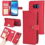 Galaxy S8 Detachable Wallet Case,Zmiq [2 in 1][Cash Storage][Card Slots] PU Leather Protective Shell Removable Folio Flip Case For Samsung Galaxy S8 (S8 Red EHY)