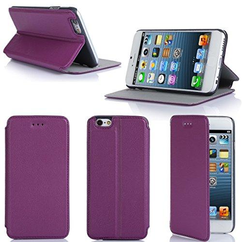 Ultra Slim Tasche Leder Style iPhone 6S Plus 5.5 2015 Hülle violett lila Cover mit Stand - Zubehör Etui smartphone 2014 Apple iPhone 6 Plus 5.5 Flip Case Schutzhülle (Handy tasche folio PU Leder, Purp