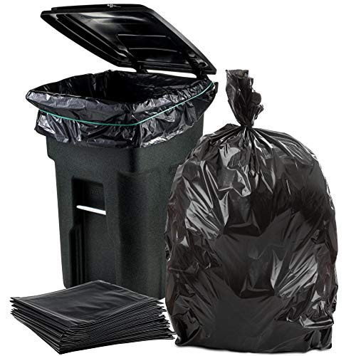 "Plasticplace 64-65 Gallon Trash Can Liners for Toter │ 1.5 Mil │ Black Heavy Duty Garbage Bags │ 50"" x 60"" (50 Count)"