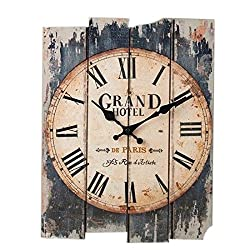 Wall Clock Vintage, Petforu Wooden Silent Clock Rectangle Roman Numeral Design 30x40cm (GRAND HOTEL)
