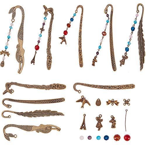 SUNNYCLUE DIY 10 Set Metal Hook Bookmarks Making Kit Include 10pcs Carved Mermaid Flower Feather Hand Bird Bookmark, Assorted Colorful Beads, Drop Charm Connectors Pendants, Headpins, Antique ()