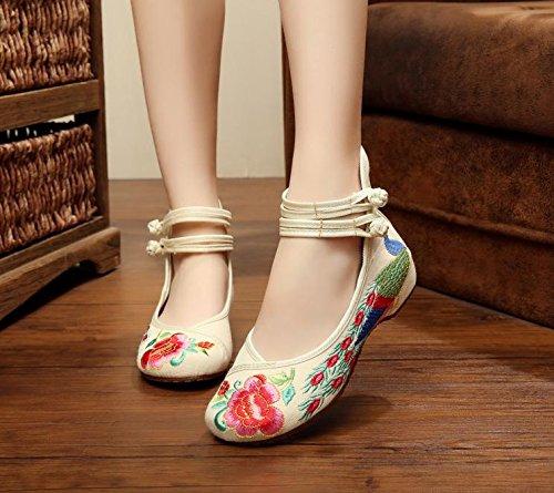 GuiXinWeiHeng xiuhuaxie Zapatos bordados, lenguado del tend¨®n, estilo ¨¦tnico, zapatos de tela femenina, moda, c¨®modo, casual dentro del aumento meters white