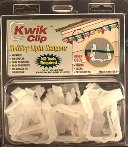 "Kwik Clip Holiday Christmas Light Hangers 2"" Fascia Boards Clip Made in the USA"