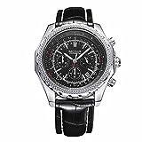 Megir 2007 Men Casual Sport Chronograph Calendar Leather Quartz Watch