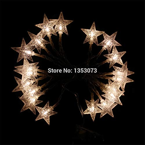 BGFHDSD 2M/3M/4M/5M LED Lucky Star Christmas String Light Battery Operated Holiday Wedding Xmas Party Garden Decoration Lights Green 4M 40LEDs by BGFHDSD (Image #3)