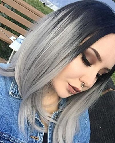 Beauty : AISI HAIR Synthetic Ombre Bob Wigs Short Straight Ombre Grey Wig 12 inch Two Tone Wig Dark Roots Heat Resistant Fiber Wigs
