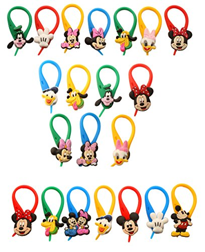 AVIRGO 21 pcs Colorful Soft Zipper Pull Charms for Jacket Backpack Bag Pendant Set # 225 - Photo Mickey Charm Mouse Disney