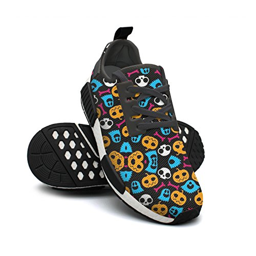 IEKLFKFVF Halloween Costumes For Women Pumpkin Skull Slip On For Mens Cute Nmd Black 2018 ()