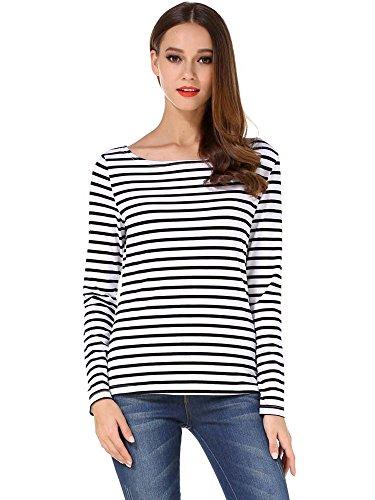 HUHOT Women Litchfield Prison Shirt Contrast Stipe Black and White 6447-3 XL]()