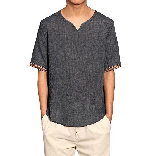 Camicias Grigio Casual Abbigliamento Uomo Sleeve Camicetta Tops Traditional Moika Loose V Short Neck Linen Mentre XT4nfq