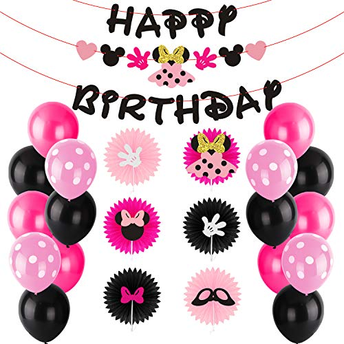 BeYumi Minnie Party Decoration Kit - Minnie Paper Fans, Happy Birthday Banner and Garland, Colorful Balloons with Patterns, Themed Party Ideas for Kids Birthday -
