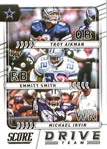 2017 Score Drive Team #15 Emmitt Smith/Michael Irvin/Troy Aikman Dallas Cowboys Football Card