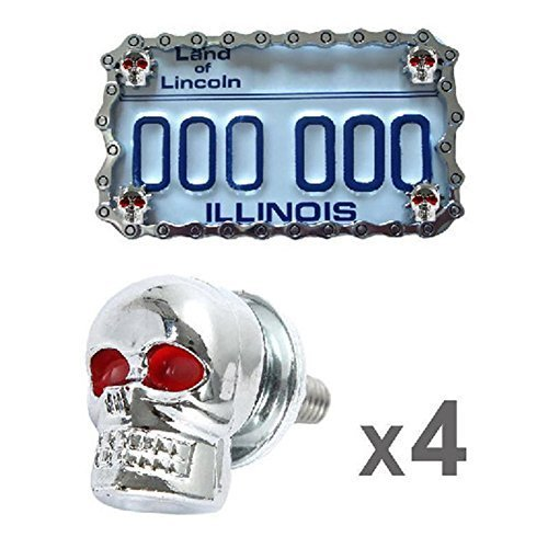 aegarage86® Universal Skull License Plate Screw Fasteners 4Pcs ()
