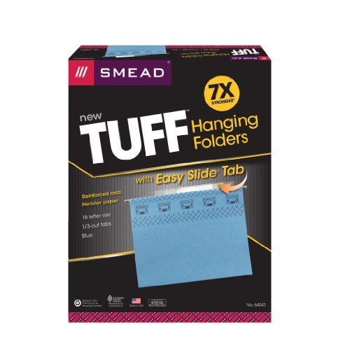 Smead TUFFHanging File Folder with Easy Easy Easy Slide(TM) Tab, 1 3-Cut Sliding Tab, Letter Größe, Blau, 18 per Box (64041) by Smead B018rotW28 | Billig ideal