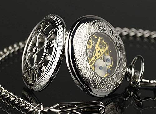 Price comparison product image Silver Us Skeleton Dial Mechanical Antique Style Pocket Chain Watch