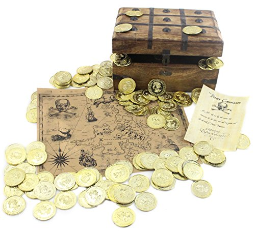 WellPackBox Wood Pirate Treasure Chest 144 Plastic Gold Coins TREASURE MAP and Pirate - Pirate Toy Box