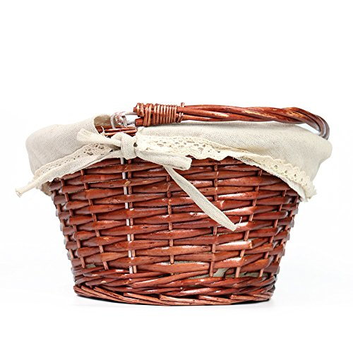 OYPEIP(TM)Father's Day Gift Basket Traditional Fashion Basket Kids Gift Basket Woven Willow Round Wicker Storage Basket With One Drop Down Handle Fabric Cotton Linen For Office, Bedroom, Closet, Toys by KRZIL (Image #2)
