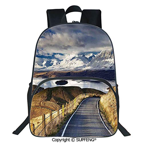 (Square Front Bag Backpack Pike Road That Goes to the River and Snowy Mountain Gradient Color Sky Scenery (15.75