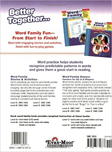 Counting Number worksheets kindergarten sentence writing worksheets : Amazon.com: Word Family Stories & Activities, Level A ...