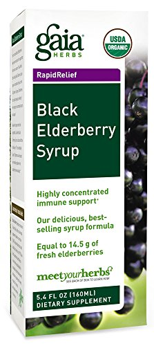 Gaia Herbs Black Elderberry Syrup, 5.4 Ounce – Daily Immune Support with Antioxidants, Organic Sambucus Elderberry Supplement