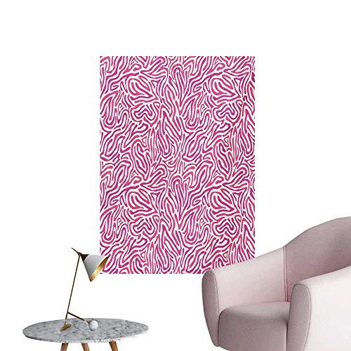 Anzhutwelve Pink Zebra Wallpaper Curved Wild Wavy Line Stripe Formless Funky Groovy Boho Tribal CultureFuchsia Pink White W24 xL32 Custom Poster]()