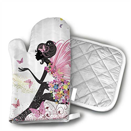 KYHDUO Pink Butterfly Girl Oven Mitts with Pot Holders for BBQ Cooking Baking, Grilling, Machine Washable ()