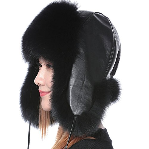 Valpeak Womens Winter Real Fox Fur Hat Genuine Leather Russian Trapper Ushanka (Genuine Real Fox)