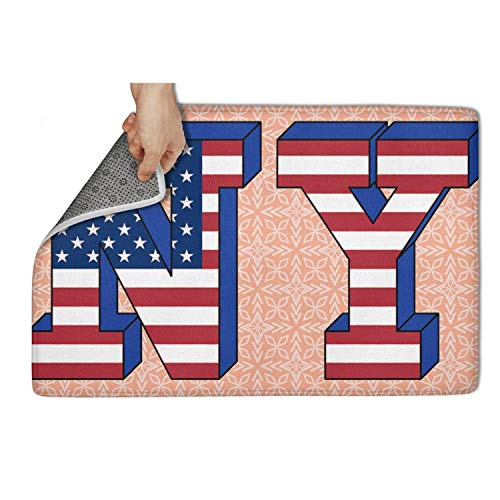 ZHIDAONNU Fashion Indoor Outdoor Entrance Doormat (23.5x15.5) New York Ny Flag Heavy Duty Door Mat Welcome Easy Remain Dirt No-Slip Backing Rugs Dirt Debris Mud Trapper