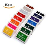 #2: Lsunshine Craft Ink Pad Stamps Partner Diy Color,15 Color Craft Ink Pad for Stamps, Paper, Wood Fabric (pack of 15)