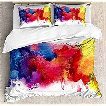 Image of Abstract Bedding Sets Duvet Cover 4 Pieces, Vibrant Stains of Watercolor Paint Splatters Dripping Liquid Soft Bed Sheets Quilt Cover with 2 Pillowcases for Kids/Teens/Women/Men Bedroom King