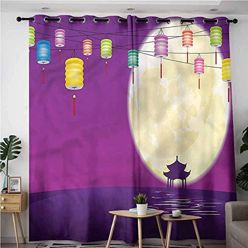 (XXANS Home Curtains,Lantern,Chinese Pavillion Moon,Energy Efficient, Room Darkening,W72x108L)