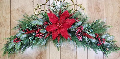 Handmade Christmas Red Iced Poinsettia Swag, Poinsettia Snow Arch Garland, Over The Door Winter Spray, Large, Pine Cones, Mistletoe, Cedar, Berries