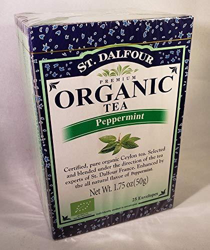 St Dalfour Peppermint Tea - ST. DALFOUR Organic Tea, Tea Bags, Peppermint, 25 Count Bag