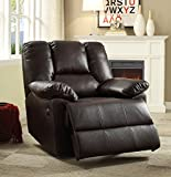 Acme Furniture 59430 Oliver Recliner (Power Motion), Dark Brown Leather-Aire For Sale