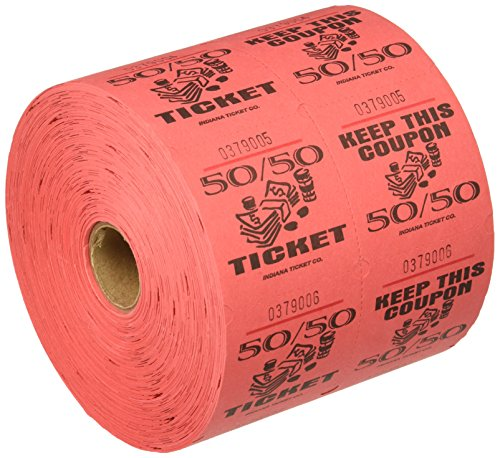 Red 50/50 Raffle Tickets : roll of 1000